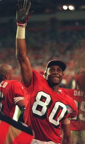 Un Rice esulatante durante il terzo Super Bowl vinto